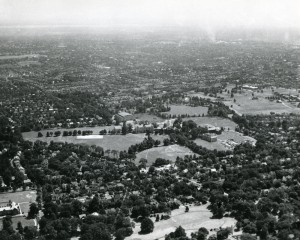 Aerial view of SHU South Orange campus with Corrigan Hall under construction, circa 1943-1944.