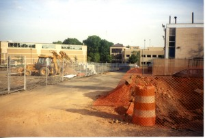 Construction for Walsh Library. View towards recreation center and parking deck.