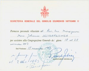 General Congregation entrance pass for Msgr. Oesterreicher, signed by Bishop Pericle Felici