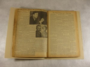 Two pages from Scrapbook 1 in the Jack Chance collection on Wendell Willkie and the 1940 presidential election,1939-1940, Mss 0023.