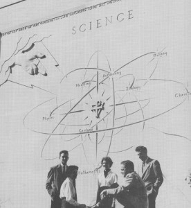 Group of people in front of the Science building