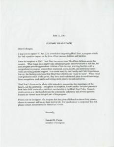 Head Start letter