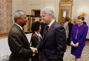President William J. Clinton with Congressman Payne, May 1, 2001