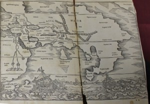 Fold-out map from C. Julius Solinus' Polyhistor: Treasury of memorabilia from all over the world