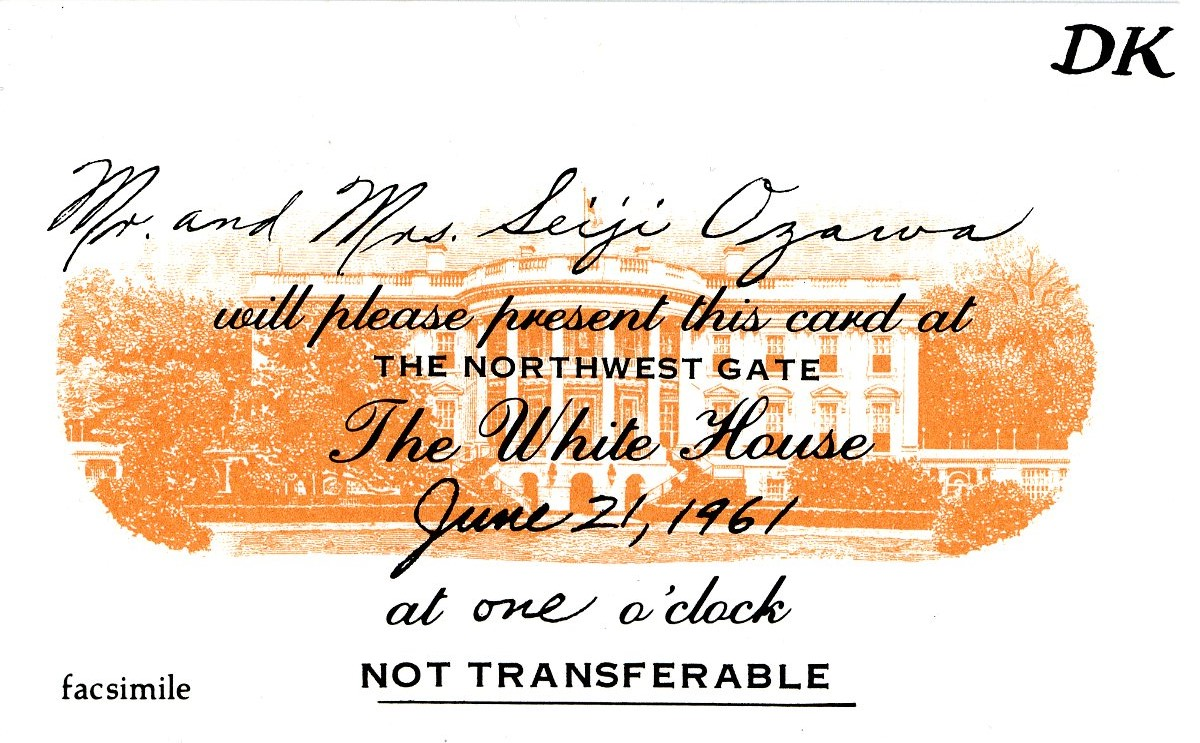 White House invitation card, Mr. and Mrs. Seiji Ozawa