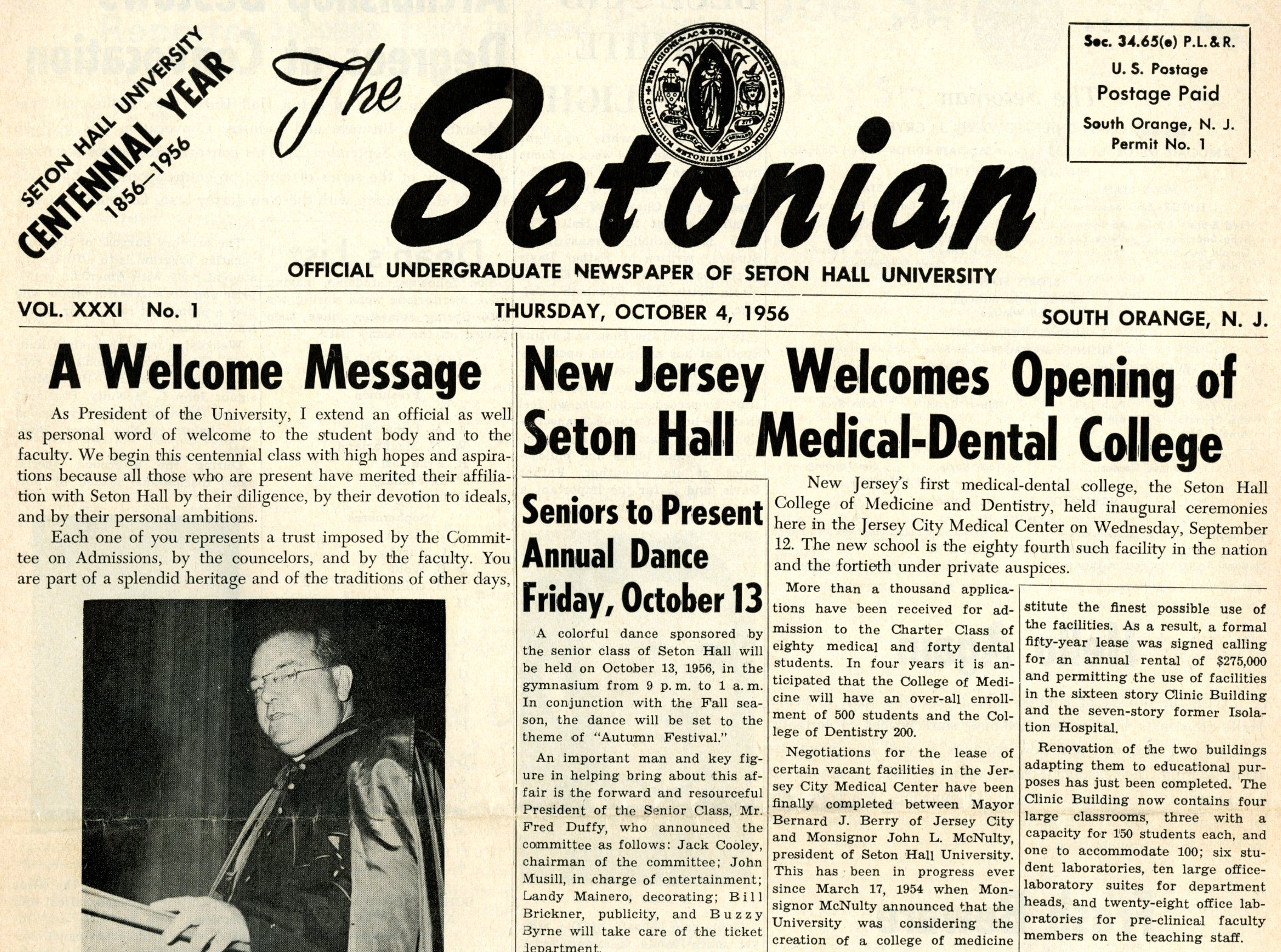 Setonian_New Jersey welcomes opening of Seton Hall Medical-Dental College