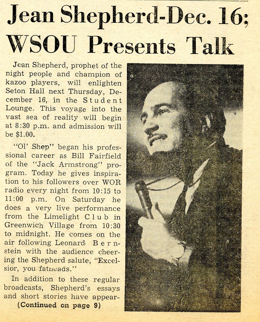 Jean Shepherd-Dec. 16; WSOU presents talk