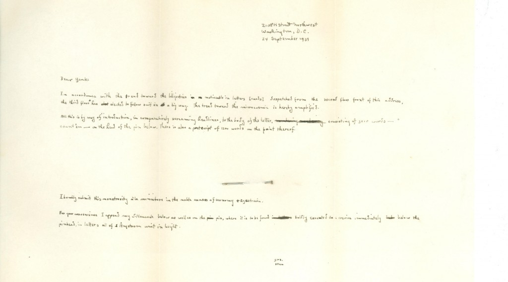 A joking letter from one of Fass's friends. The pin in the center of the page gives perspective to the tiny size of the text. (Click to expand.)