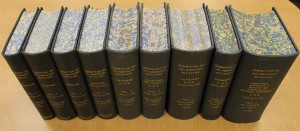 Some of the HUAC reports in the Leab collection were combined into large volumes and sturdily re-bound, with a decorative marbling effect applied to the exposed edge of the pages.