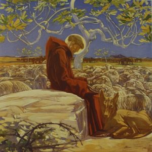 Illustration depicting St. Francis surrounded by animals and nature.