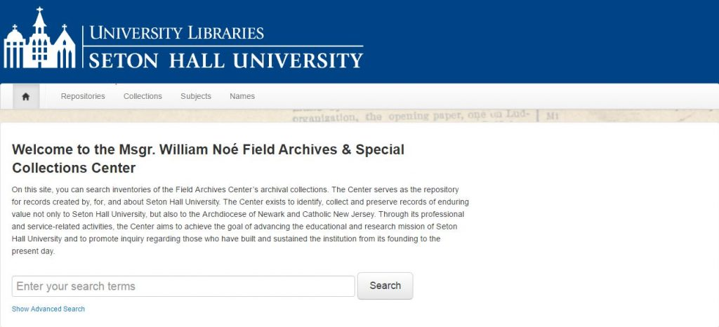 ArchivesSpace searchable database