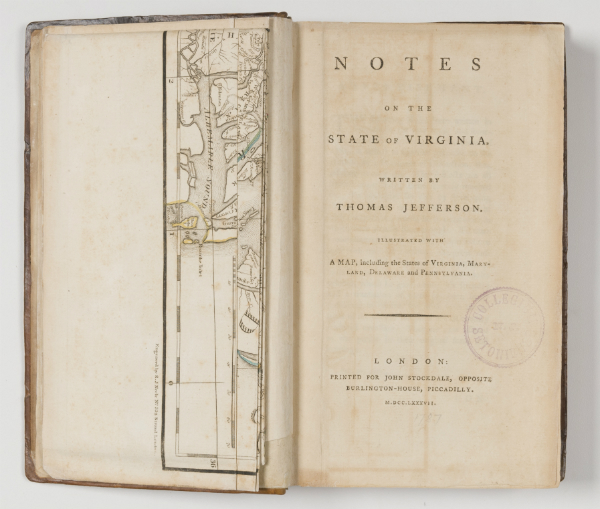 Notes on the State of Virginia after treatment, showing the leaves and cover attachment mended and the map re-attached to sit correctly in the volume.