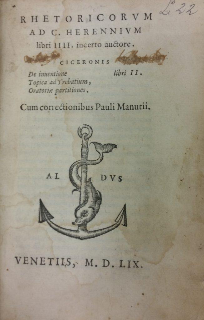 Rhetoricorum ad C. Herennium libri IIII. incerto auctore