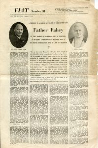 Front page of Fiat newspaper showing Father Fahey obituary