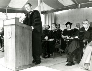 Governor Byrne receives an Honorary Degree from Seton Hall University on May 18, 1974.