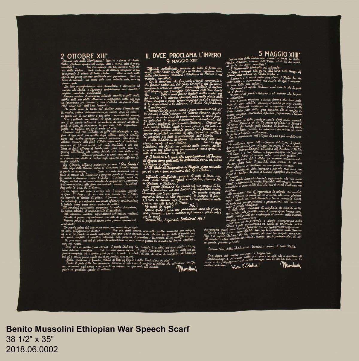 Object of the Month – Benito Mussolini Ethiopian War Speech Scarf