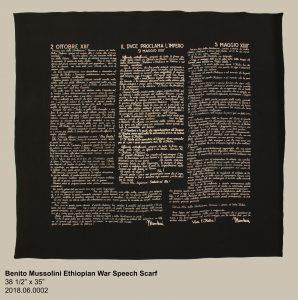 "Benito Mussolini Ethiopian War Speech Scarf, 38 ½"" x 35"", 2018.06.0002"