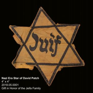 "Nazi Era Star of David Patch 4"" x 4"" 2018.05.0001 Gift in Honor of the Jeifa Family"