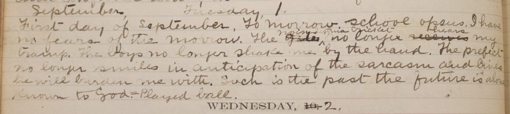 Handwritten entry in Robinson's diary reflecting on Seton Hall College