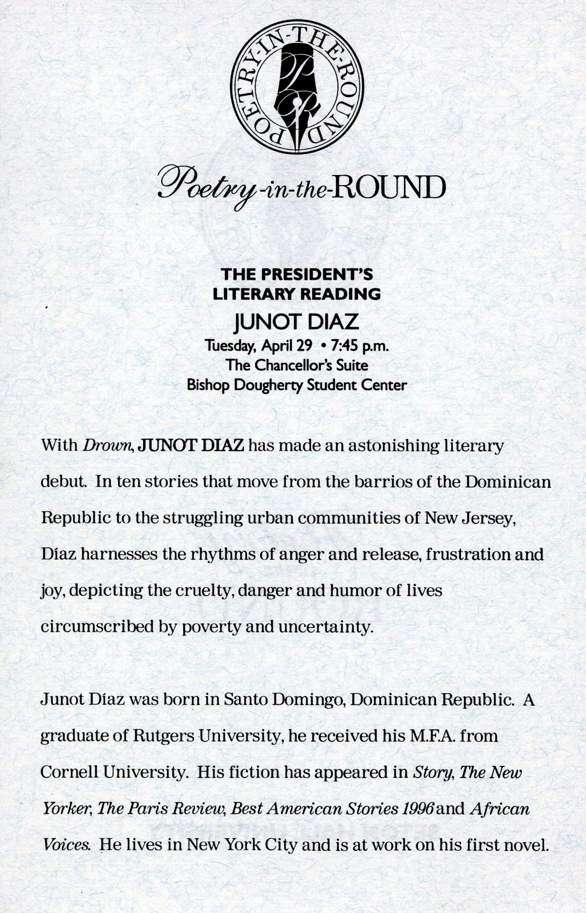 """Student Perspective on Junot Diaz and """"Poetry in the Round"""""""