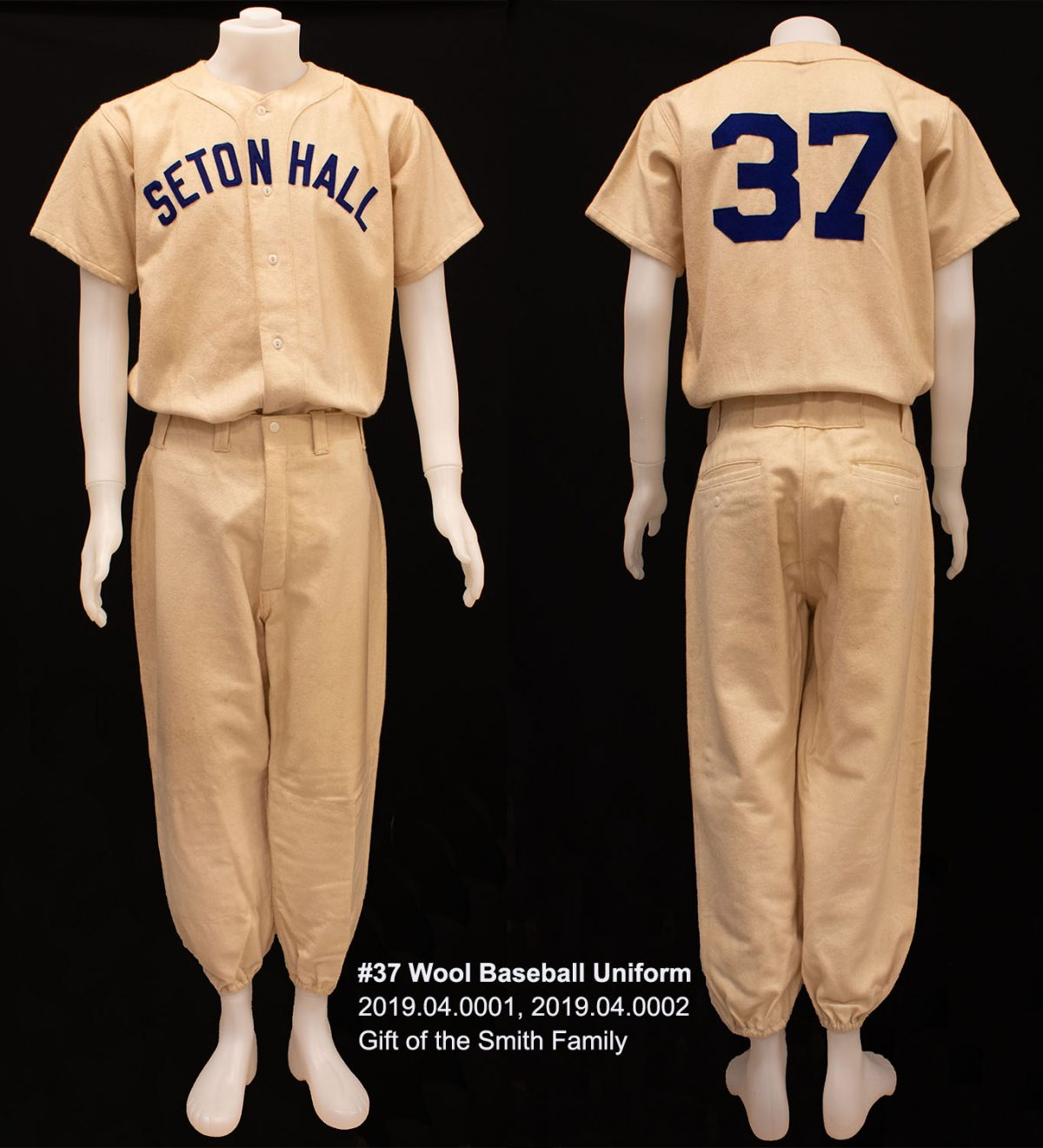 #37 Wool Baseball Uniform, 2019.04.0001, Gift of the Smith Family