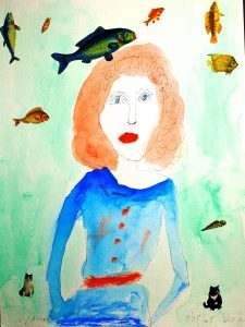 Maria Gillan's painting of a redhead with flying fish