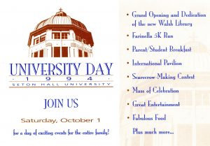 Invitation to Dedication of Walsh Library, University Day 1994