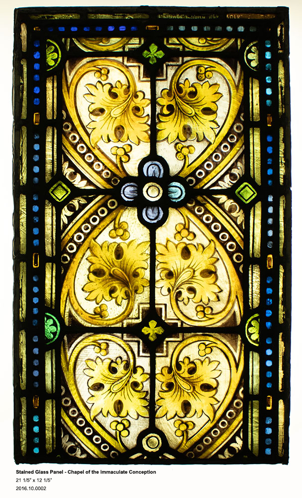 Franz Mayer of Munich, Stained Glass Panel - Chapel of the Immaculate Conception, lead and glass, 21 1/5 inches tall by 12 1/5 inches wide, 1863, 2016.10.0002, Seton Hall University Archives and Special Collections