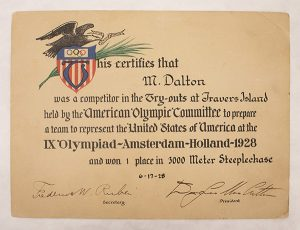 "Mel Dalton – Olympic Certificate of Merit, certificate, 5 11/16"" x 7 11/16"", June 17, 1928, 2020.05.0002, Department of Archives and Special Collections"