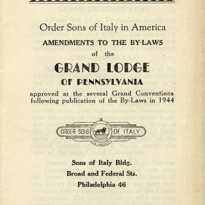 Amendments to By-Laws for the Order Sons of Italy, 1944.