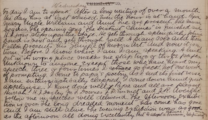 Excerpt from John Erigena Robinson's diary describing his preparation for the Junior Exhibition