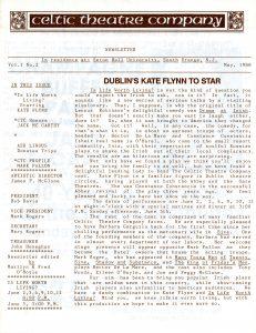 Celtic Theatre Company Newsletter, 1988