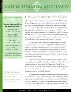 Celtic Theatre Company Newsletter, 2006