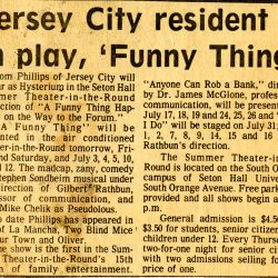 """Jersey Resident in play """"Funny Thing"""" article, 1979."""