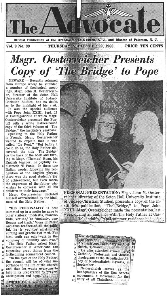 "Newspaper clipping from The Catholic Advocate titled ""Monsignor Oesterreicher Presents Copy of 'The Bridge' to Pope."""