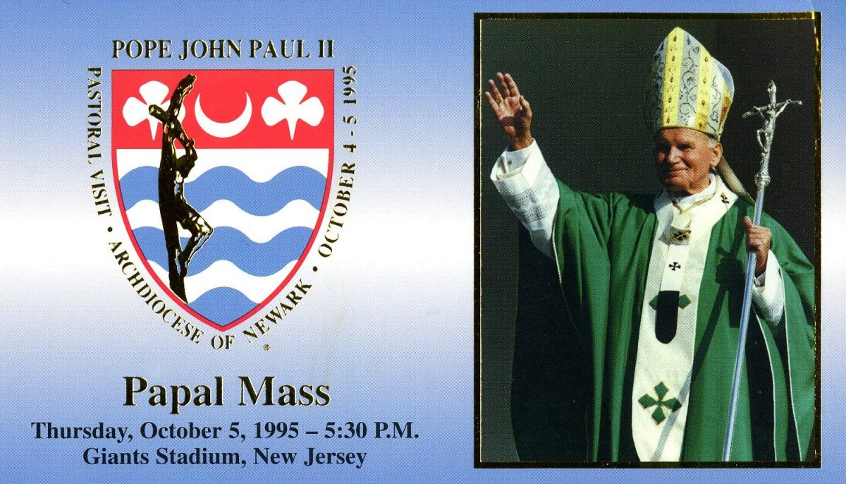 Image of card for Pope John Paul II's Papal Mass from October 5, 1995.