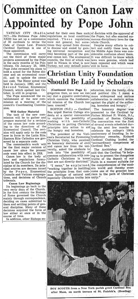 "News clipping titled, ""Committee on Canon Law Appointed by Pope John"""