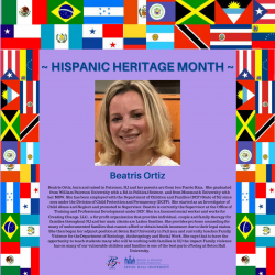 Beatris Ortiz, born and raised in Paterson, NJ and her parents are from Puerto Rica. She graduated from William Paterson University with a BA in Political Science. and from Monmouth University with her MSW. She has been employed with the Department of Children and Families (DCF) State of NJ since 2002 under the '.Division of Child Protection and Permanency ( (DCPP). She started as an Investigator of Child Abuse and Neglect and promoted to Supervisor. Beatris is currently the Supervisor at the Office of Training and Professional Development under DCF. She is a licensed social worker and works for Creating Change. LLC., a for profit organization that provides individual couple and family therapy for families throughout NJ and her main clients are Latino families. She provides pro bono counseling for many of undocumented families that cannot afford or obtain health insurance due to their legal status. She then began her adjunct position at Seton Ha.11 University in Fall 2019 and currently teaches Family Violence for the Department of Sociology. Anthropology and Social Work. She says that to have the opportunity to teach students many who will be working with families in N.J the impact Family violence has on many of our vulnerable children and families is one of the best parts of being at Seton Hall University.