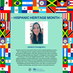 Jessica was born and raised in New Jersey with Ecuadorian parents. She is a first generation college student at Seton Hall University through the EOP program. She then graduated with a BA in Political Science and Spanish Earned a Master's in English at Seton Hall while working as a TA for the English Department. Jessica is English adjunct professor at Seton Hall since 2004 and currently working as Spanish adjunct professor for the Language, Literature and Cultures Department. Also, a full time Spanish- teacher for the South Orange and Maplewood School District since 2005. She is a proud mom to Isabela and Santiago. marathon runner and yoga instructor.