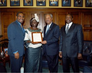 from the left: U.S. Representative Gregory Meeks - NY (L) with Nobel Peace Prize Laureate Wangarĩ Muta Maathai, Representative Donald Payne and Ambassador Leonard Ngaithe - MSS0078 courtesy of Archives and Special Collections