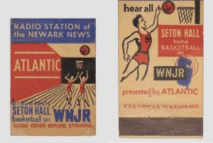 Matchbook cover from WNJR Radio advertising Seton Hall basketball, 1949, 2020.07.0001, Courtesy of Archives and Special Collections