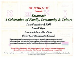 """Kwanzaa Celebration Invitation"" Black Students Union vertical file, 2008, Archives and Special Collections, Seton Hall University, South Orange, NJ"