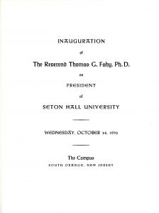 Program of Monsignor Fahy's Inaugural Address
