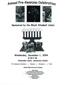"""Annual Pre-Kwanzaa Celebration Invitation"" Black Students Union vertical file, 2004, Archives and Special Collections, Seton Hall University, South Orange, NJ"