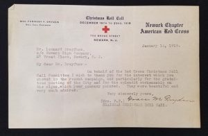 Christmas Roll Call Acknowledgement Letter American Red Cross – Newark Chapter January 12, 1919 Leonard Dreyfuss papers MSS 0001 Courtesy of Archives and Special Collections