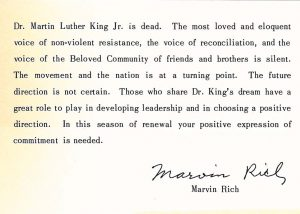 Marvin Rich Statement on death of Martin Luther King Jr.