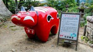 Life-size akabeko outside the Enzoji Temple in Fukushima Prefecture