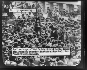 Blatch speaking to crowds at Wall Street, NYC