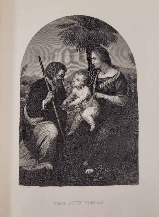 Engraved image of the Holy Family from The Holy Bible, The Latin Vulgate