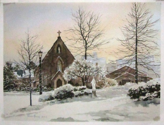"""Object of the Week: """"Immaculate Conception Seminary in Winter"""" by Edwin Havas"""
